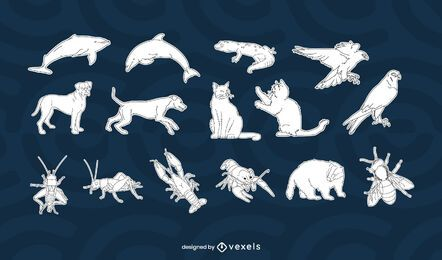Diseño de set de animales blanco