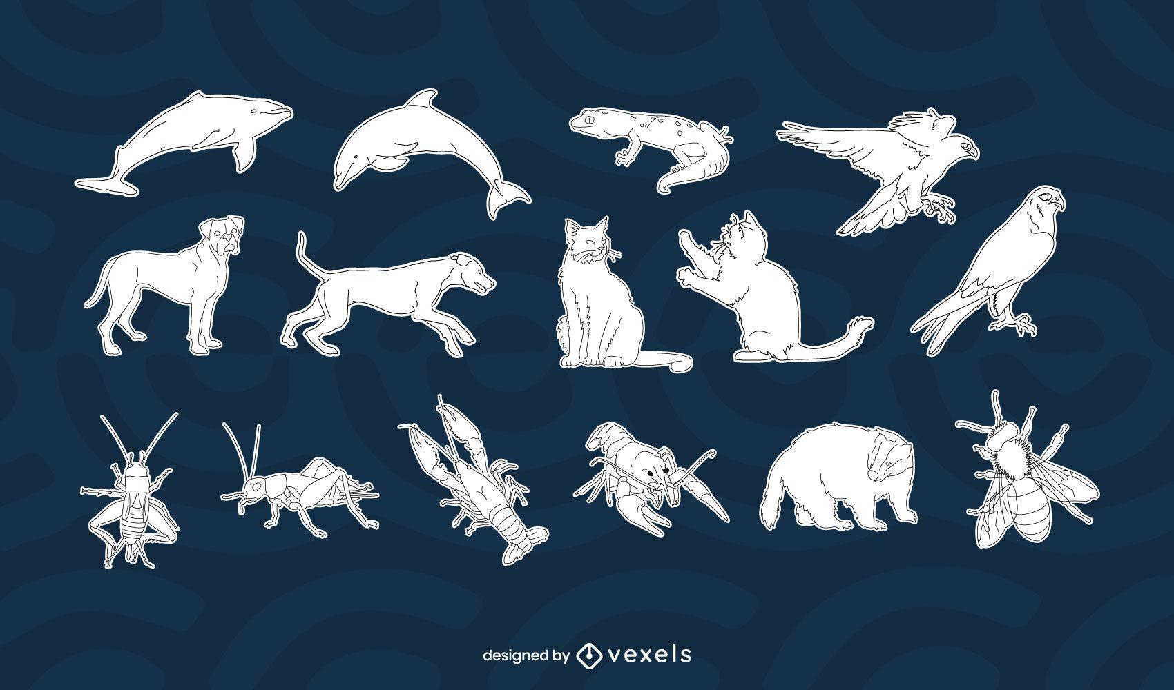 Diseño de set de animales blanco