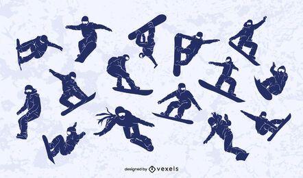 Conjunto de diseño de silueta de snowboarder