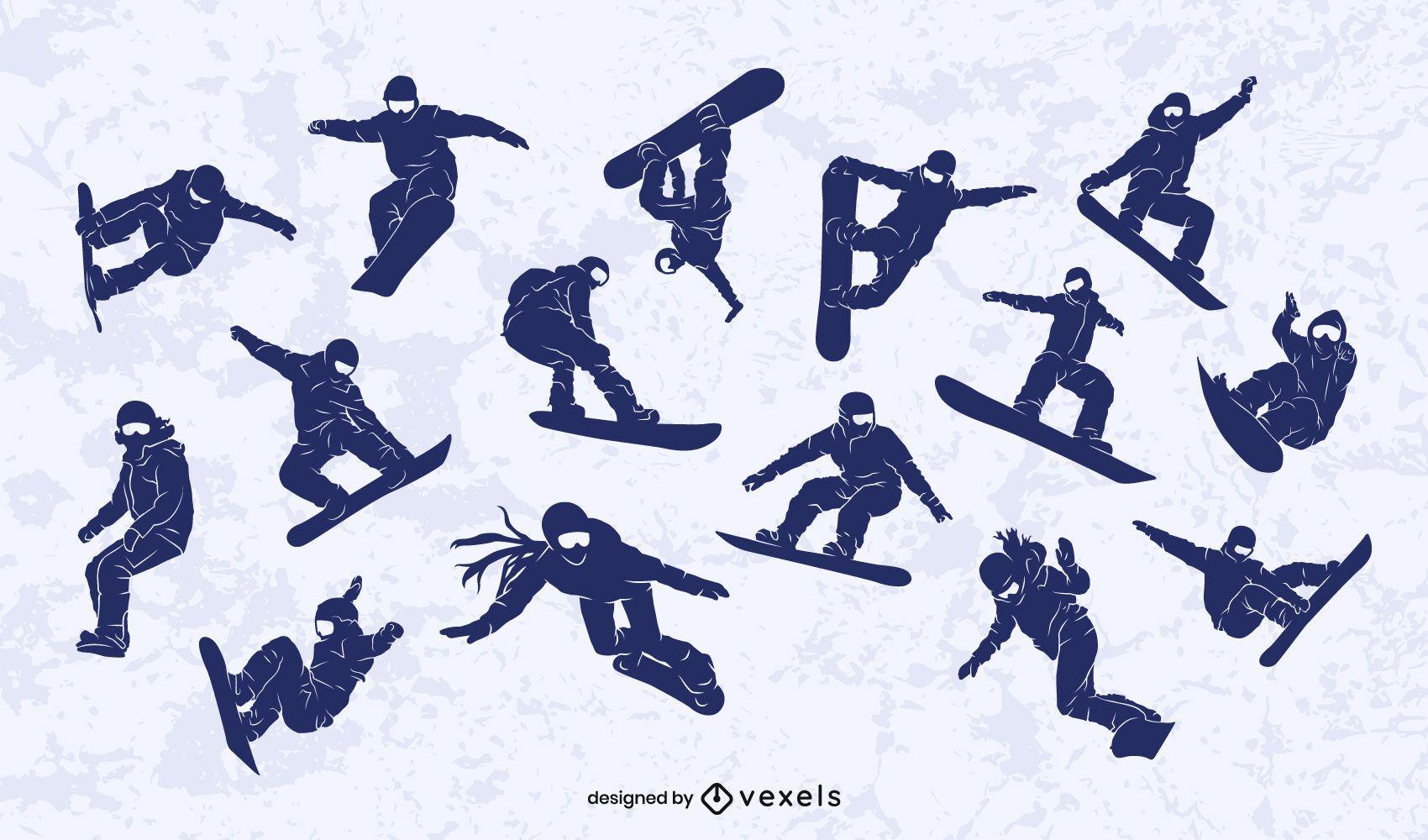 Snowboarder silhouette design set