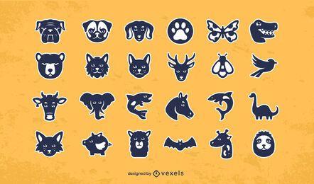 Conjunto de diseño de pegatinas de animales