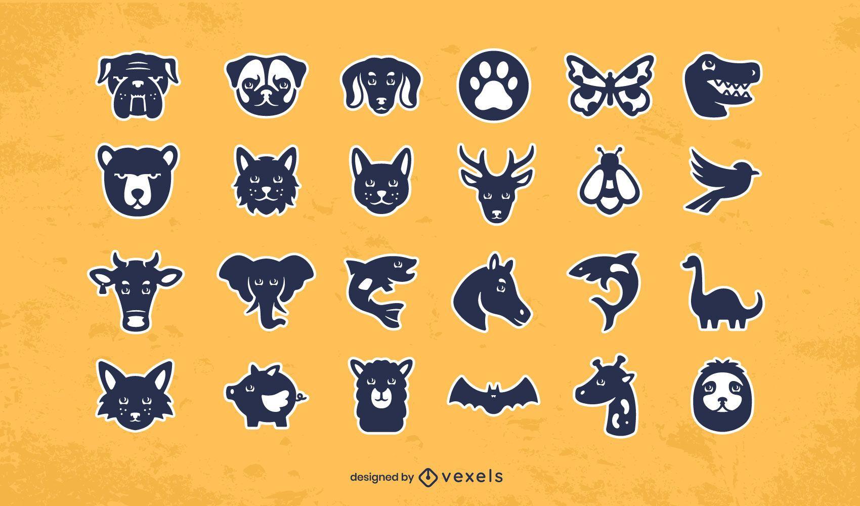 Animals sticker design set