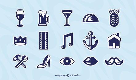 Conjunto de iconos de elementos varios