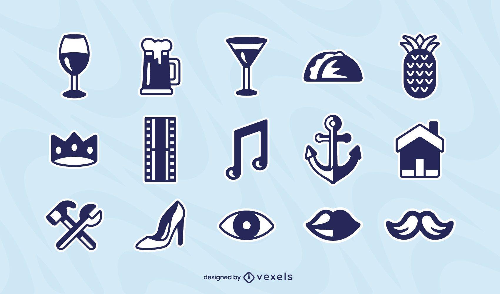 Conjunto de ícones de elementos diversos