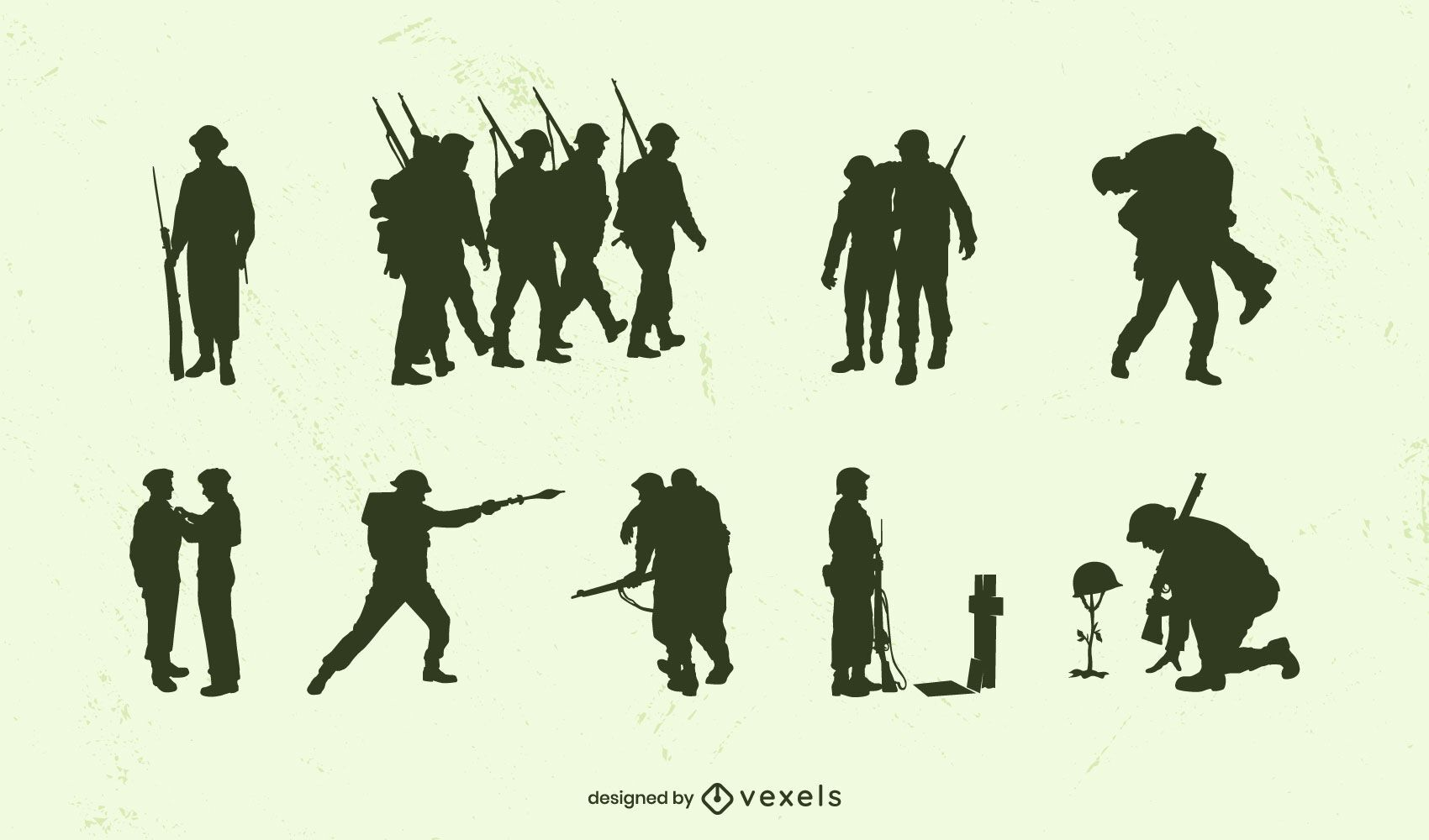 WWII military silhouette set