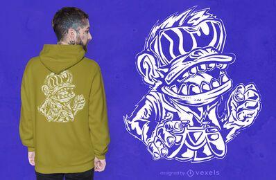 Design de camiseta de macaco jogador