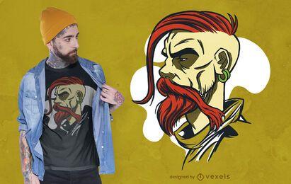 Diseño de camiseta cosaco ucraniano.