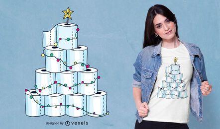 Design de t-shirt de árvore de natal de papel higiênico
