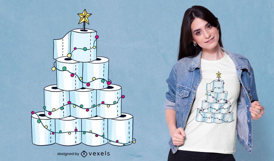 Diseño de camiseta de árbol de navidad de papel higiénico.