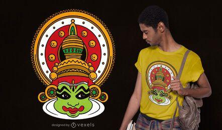Design de camiseta com máscara Kathakali