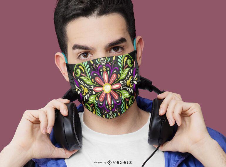 Design floral de máscara facial