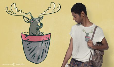Diseño de camiseta de ciervo de bolsillo enojado
