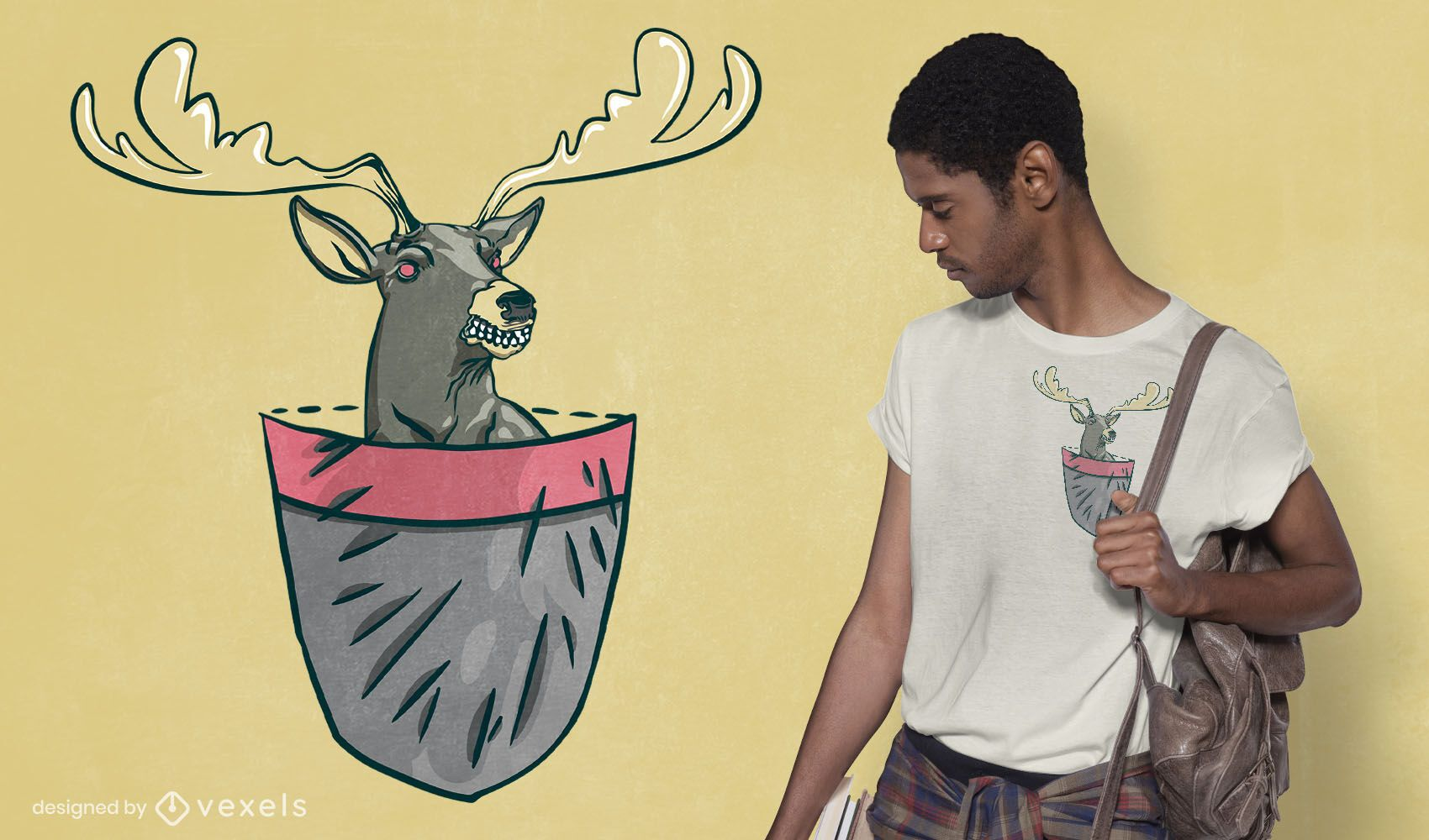 Angry pocket deer t-shirt design