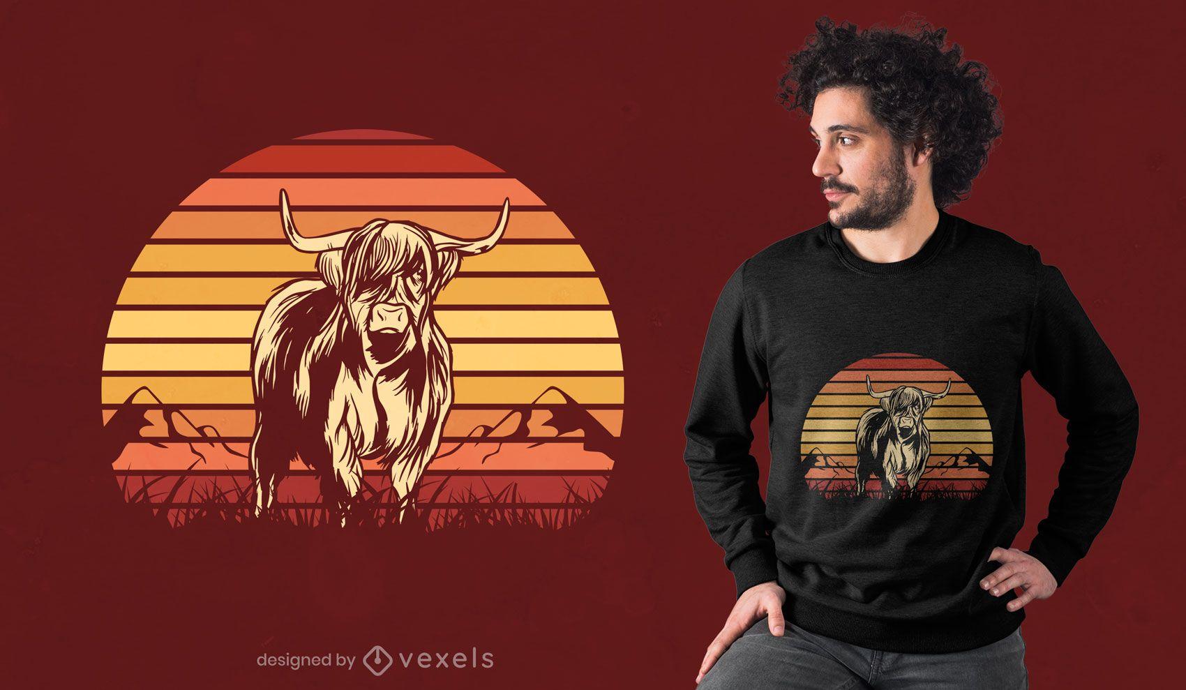 Diseño de camiseta highland cow sunset