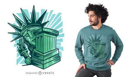 Design de camiseta com a estátua da liberdade assustada