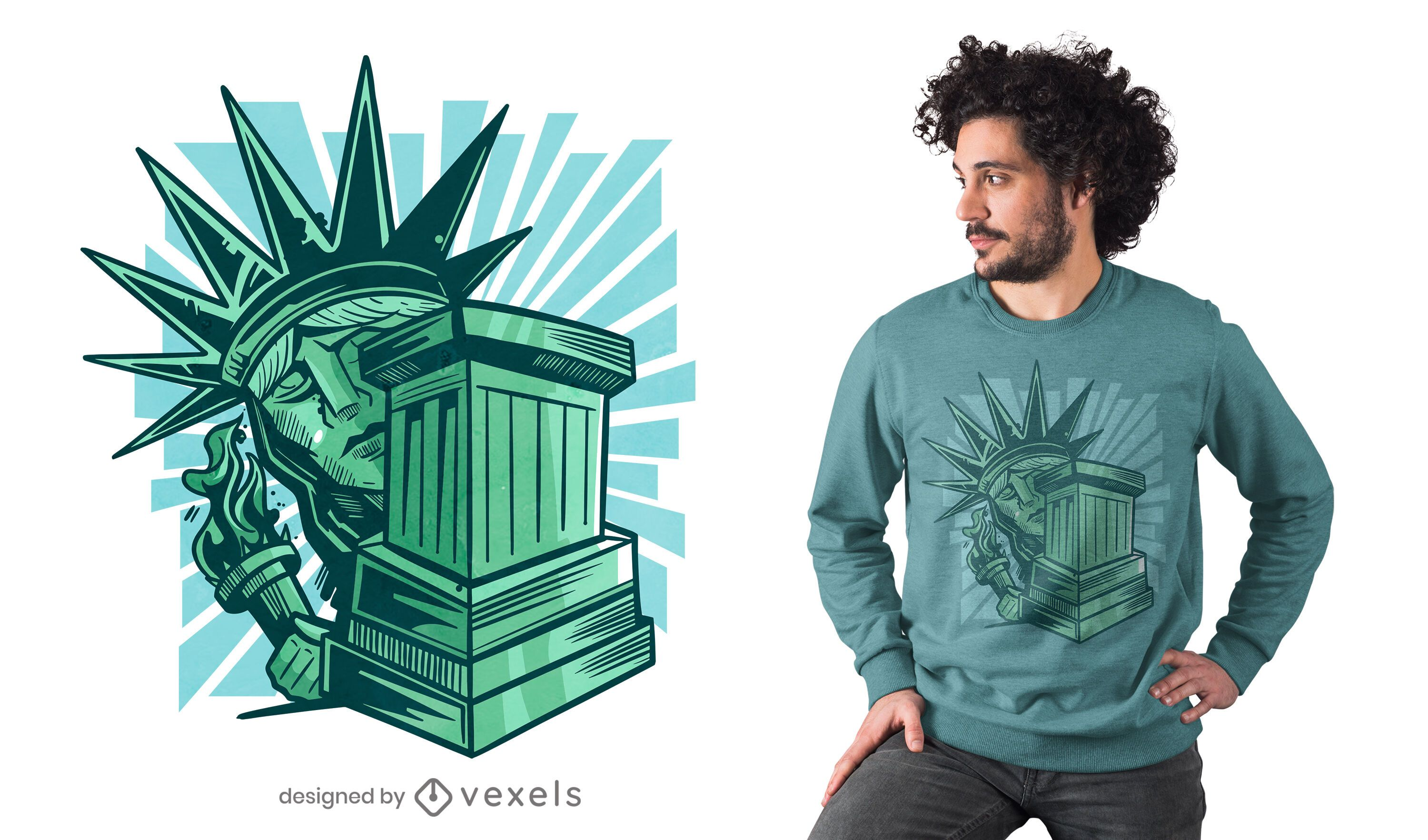 Scared statue of liberty t-shirt design