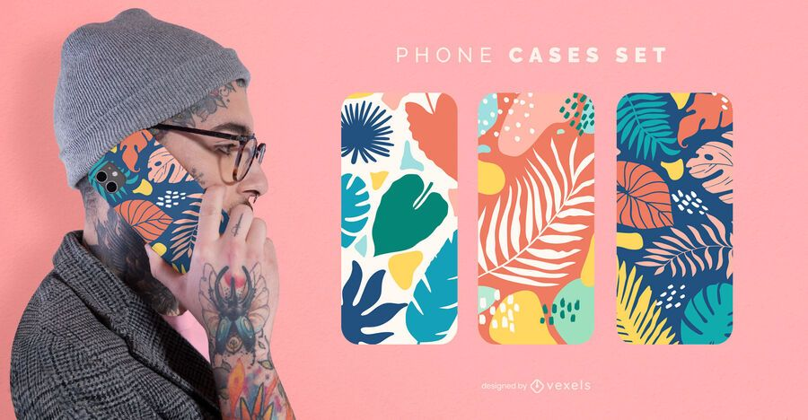Conjunto de capa de telefone com folhas coloridas