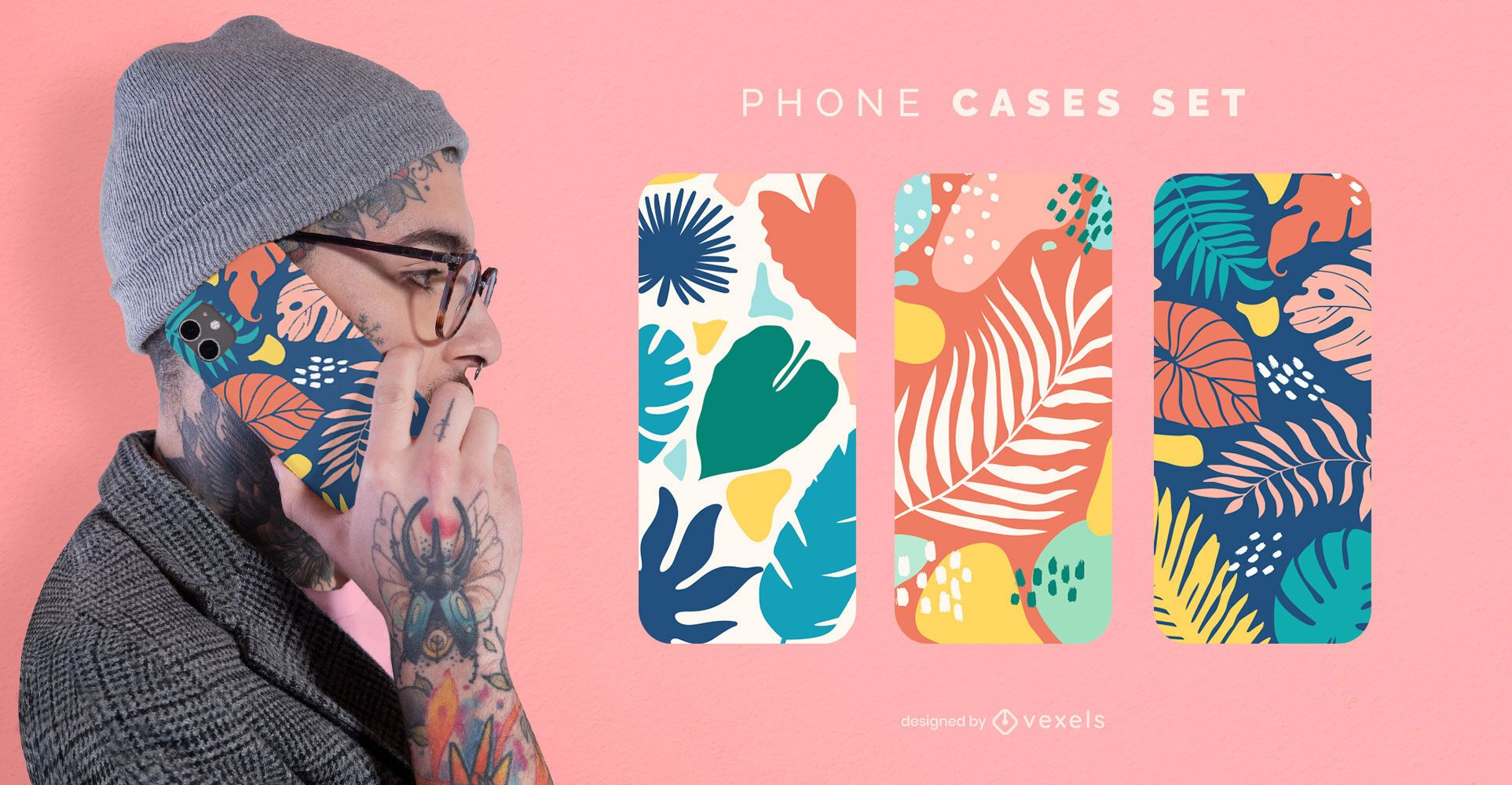 Colorful leaves phone case set