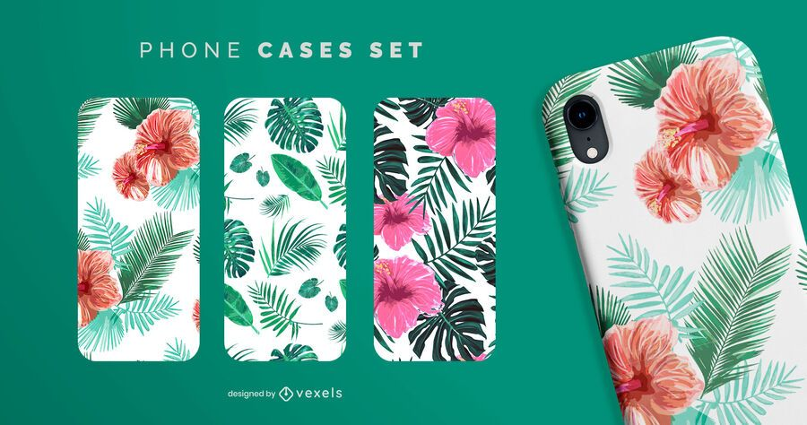 Conjunto de caja de teléfono tropical