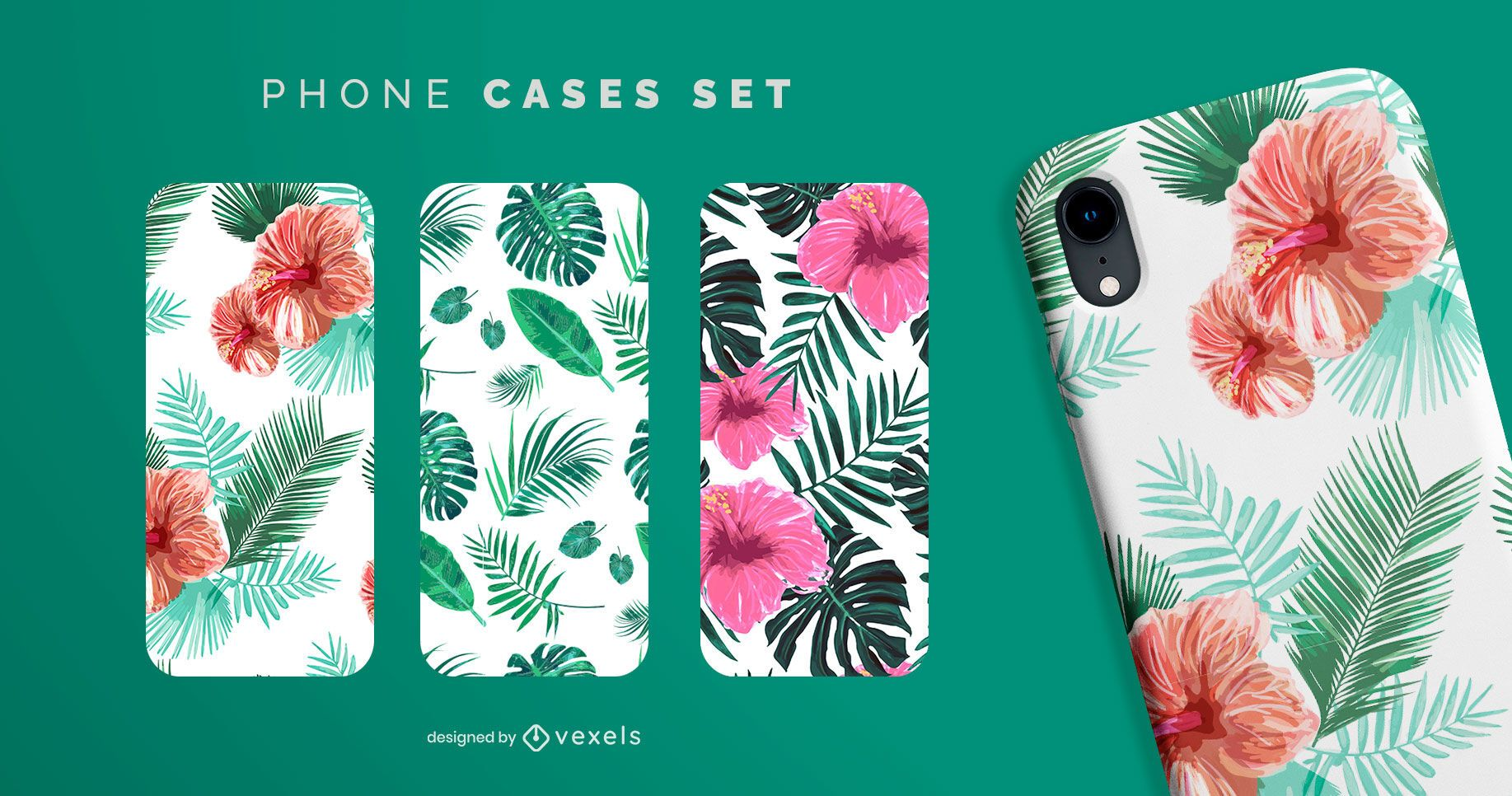 Conjunto de capa de telefone tropical