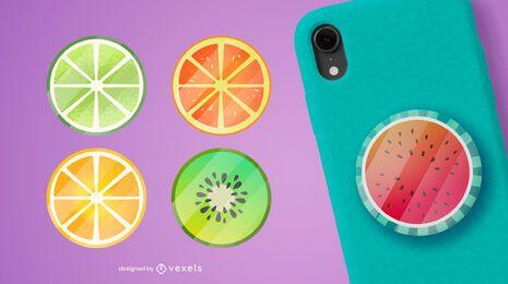 Conjunto de frutas popsocket