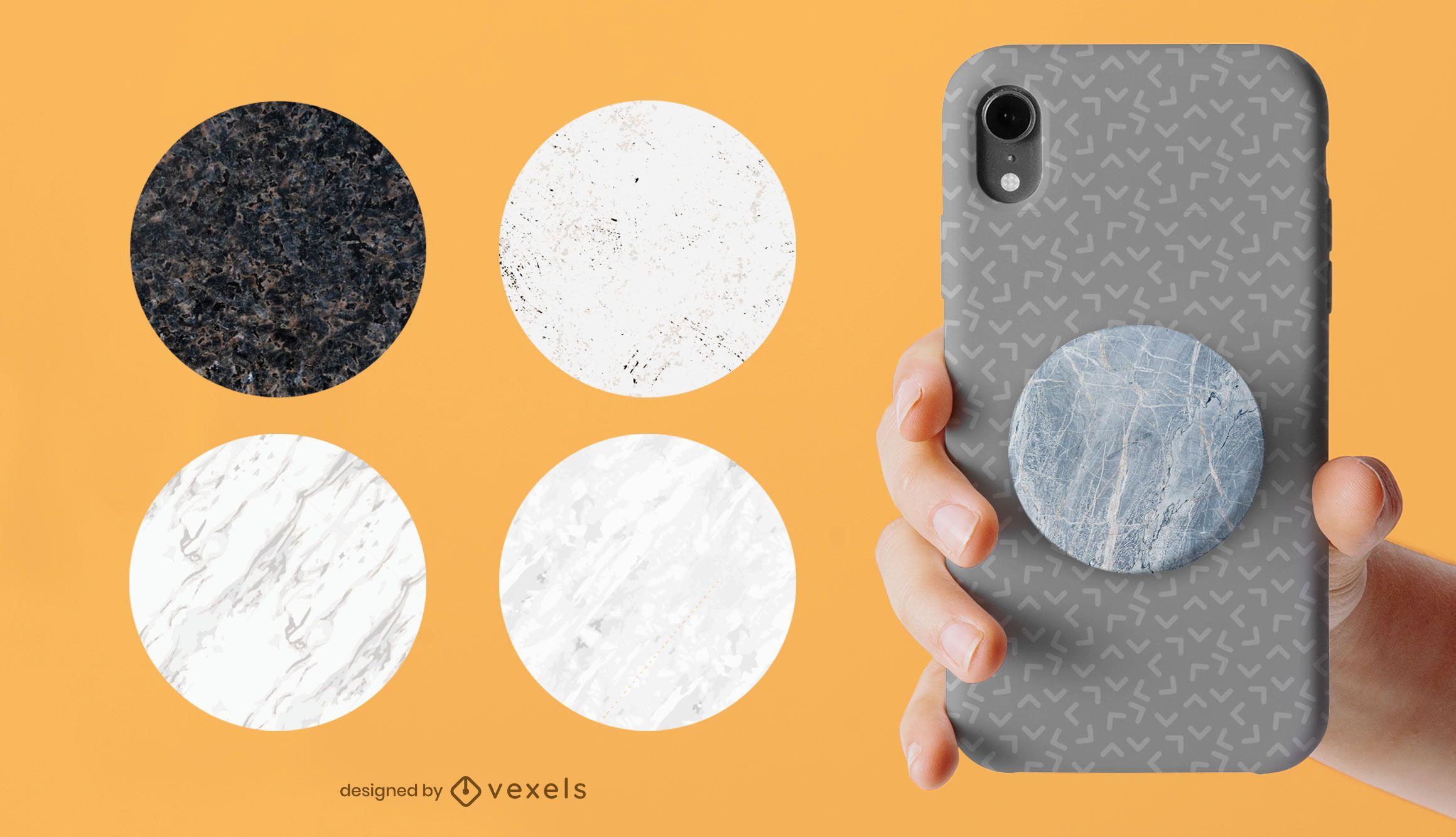 Popsocket-Set aus Marmor-Texturen