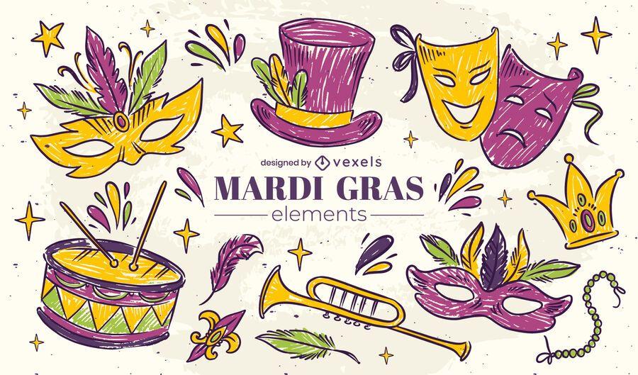Mardi gras sketch element set