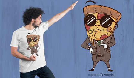 Suited pizza t-shirt design