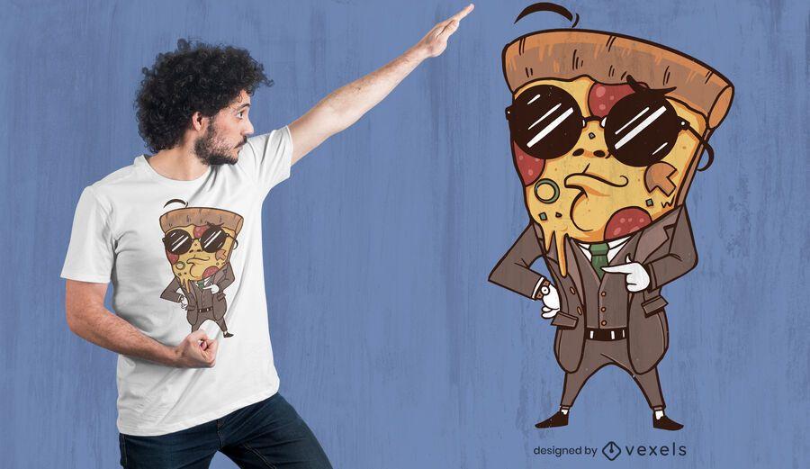Suited pizza t-shirt design