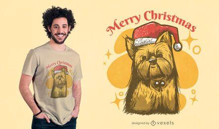 Diseño de camiseta de navidad yorkie