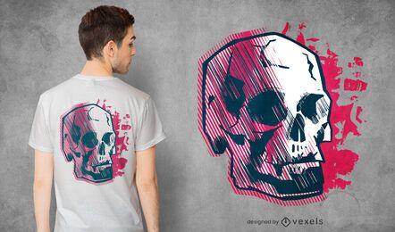 Desenho abstrato de camiseta com caveira