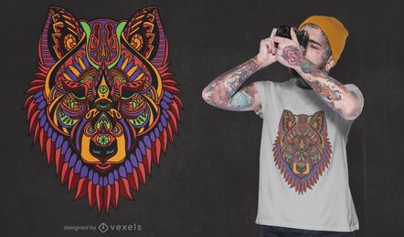 Design de t-shirt de lobo mandala