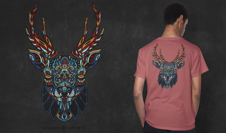 Design de t-shirt mandala alce