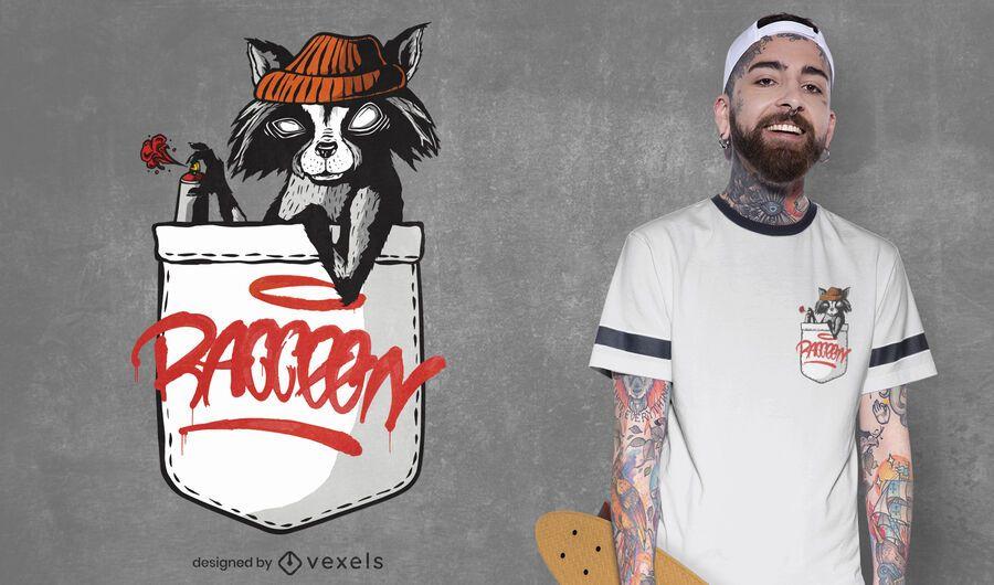 Diseño de camiseta de mapache de bolsillo