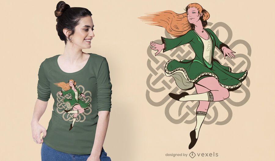 Design de camiseta de dançarina irlandesa