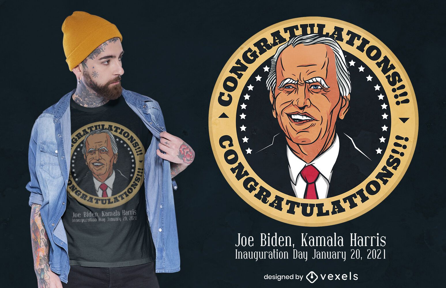 Felicitaciones biden diseño de camiseta