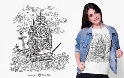 Diseño de camiseta de barco mandala
