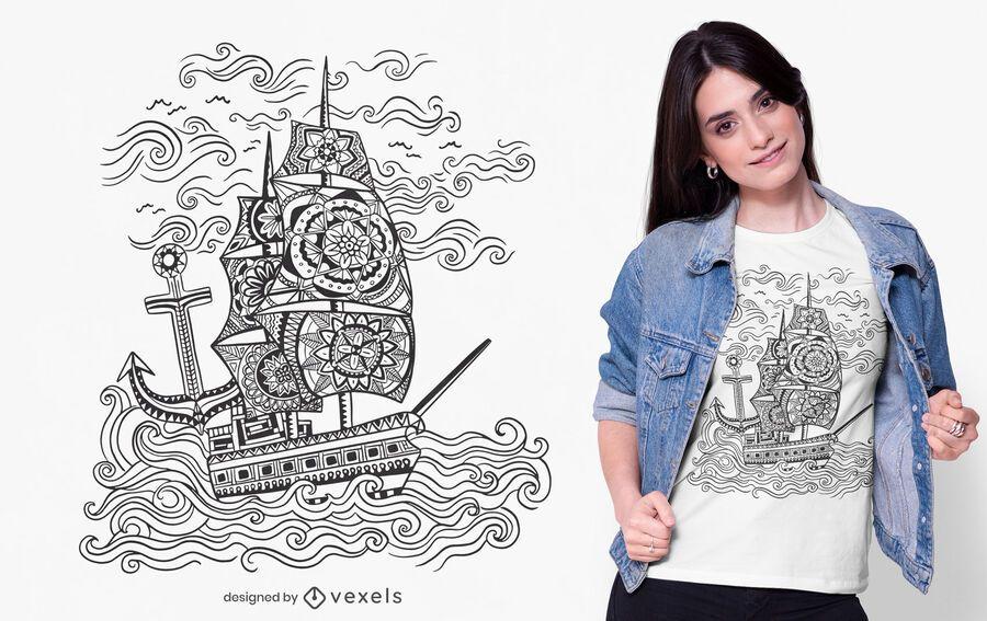 Mandala ship t-shirt design