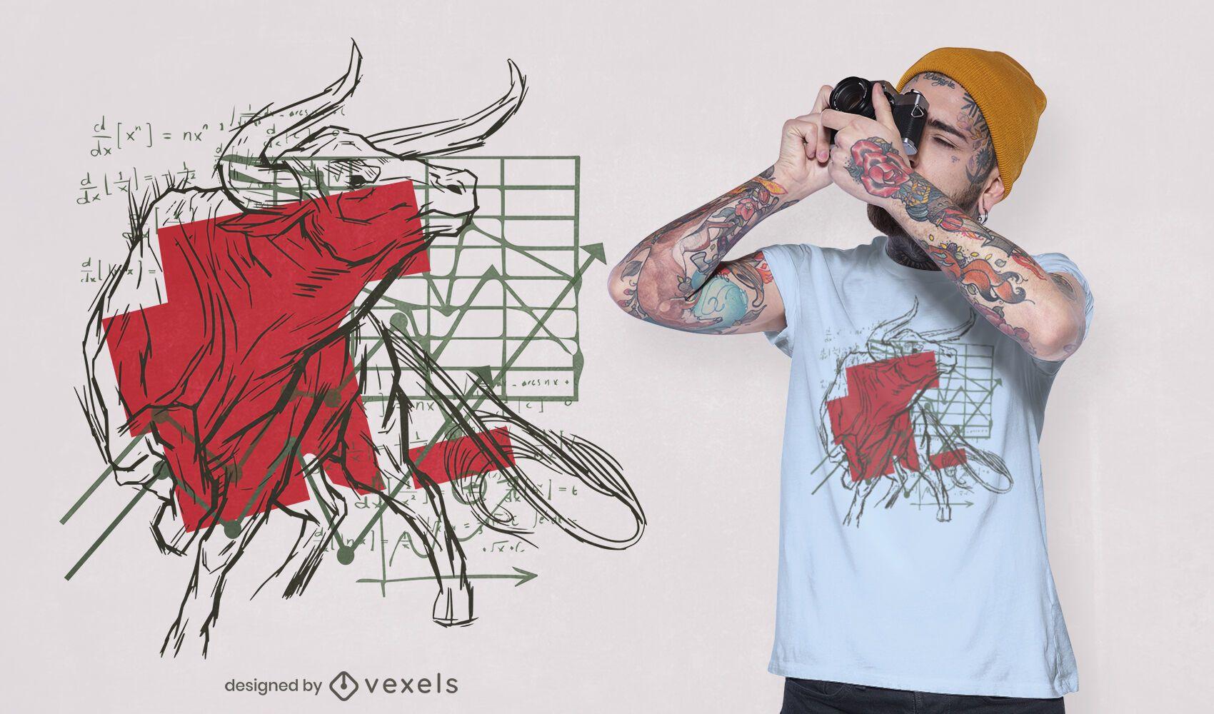 Diseño de camiseta Bull charts