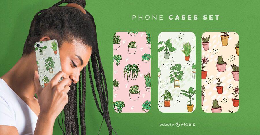 Conjunto de capa de telefone para planta de casa