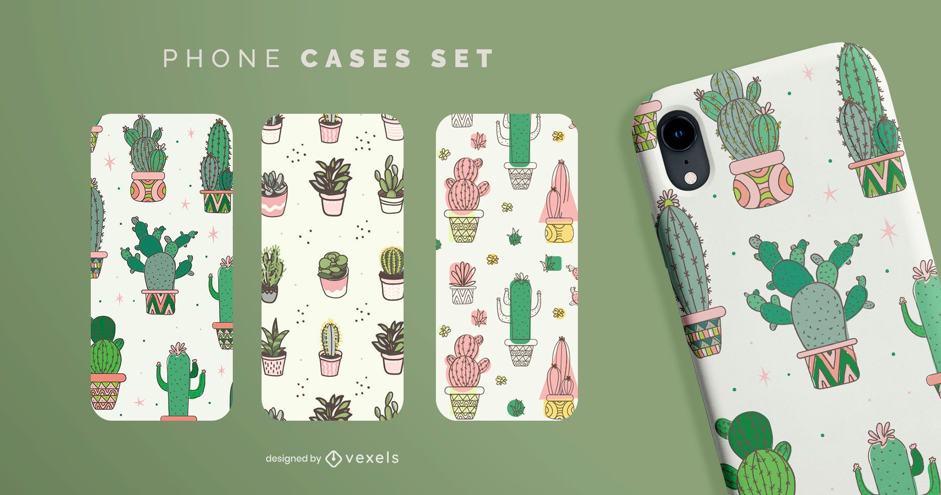 Conjunto de caja de teléfono cactus