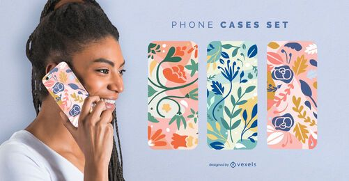 Colorful flowers phone case set