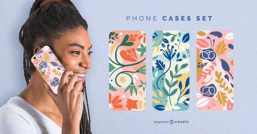 Conjunto de caja de teléfono con flores de colores