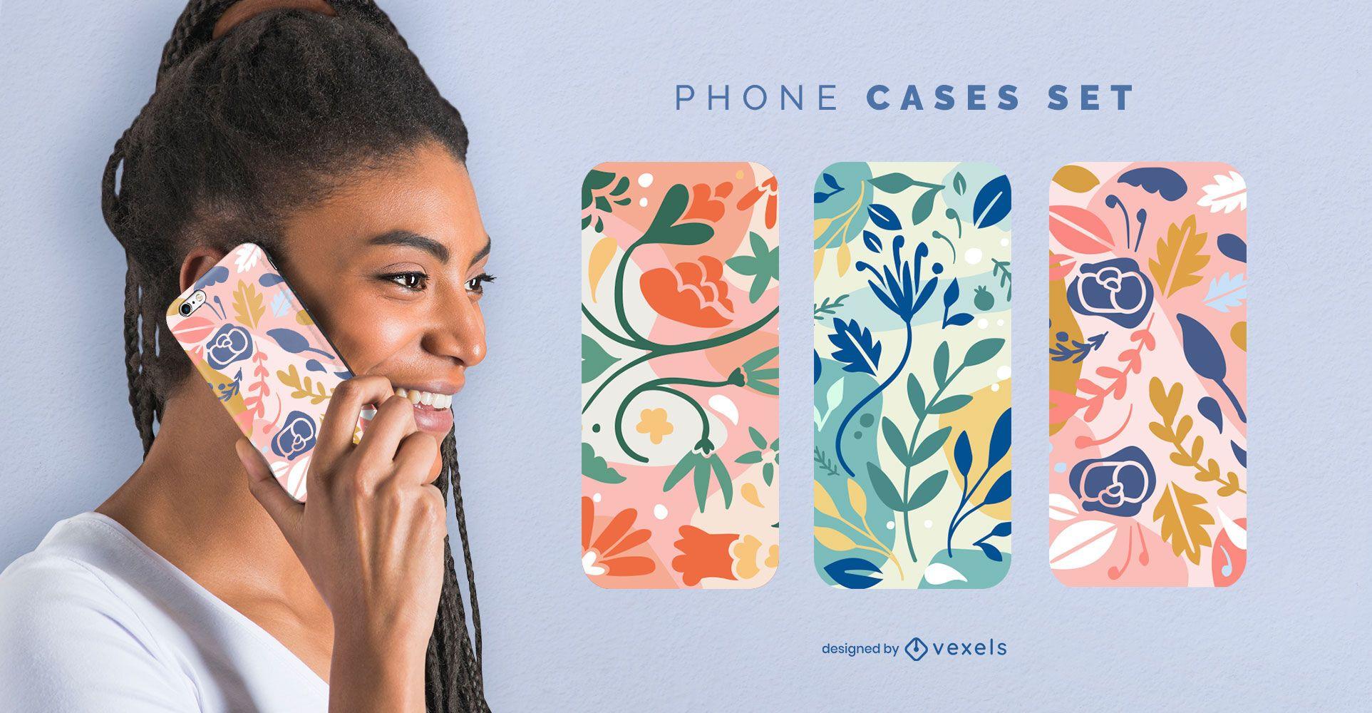 Conjunto de capa de telefone com flores coloridas