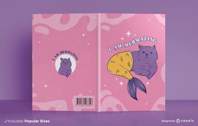 Diseño de portada de libro de gato sirena