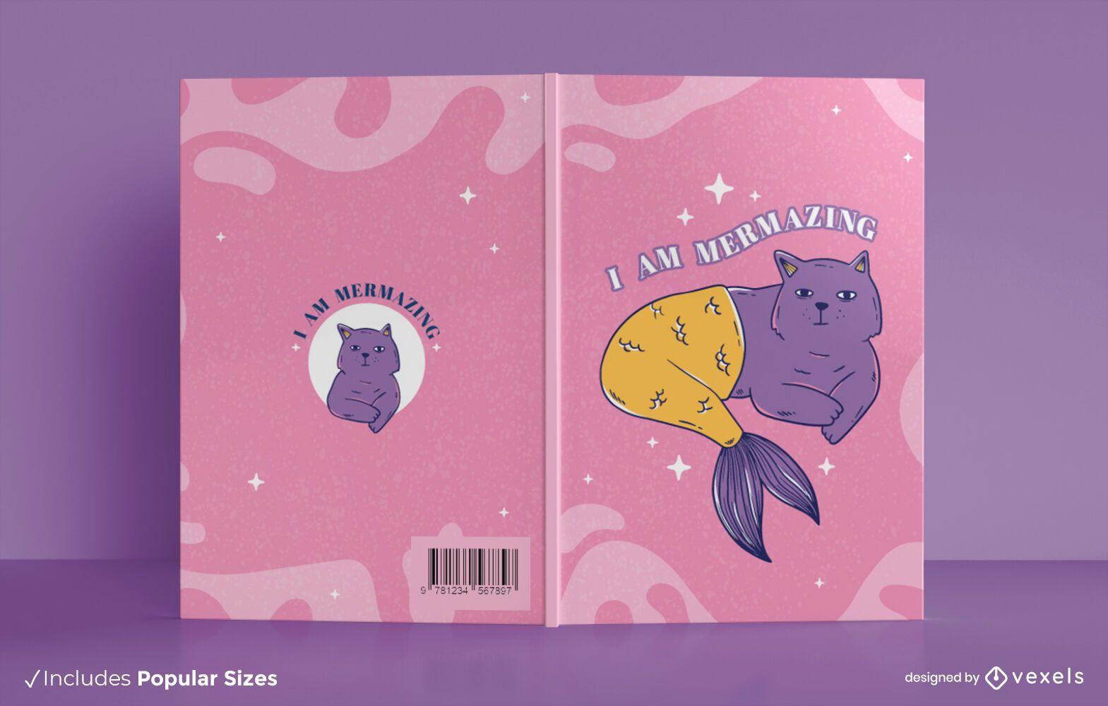 Mermaid cat book cover design