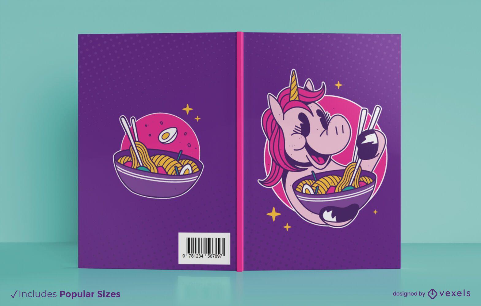 Diseño de portada de libro de unicornio ramen
