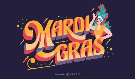 Diseño de letras de celebración de mardi gras