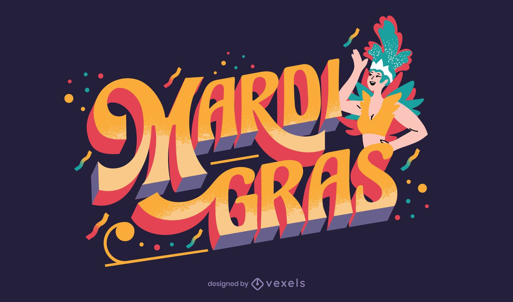 Mardi gras celebration lettering design