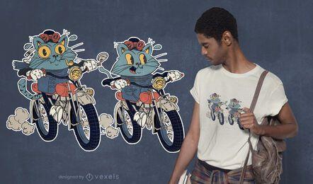Diseño de camiseta de gatos moteros
